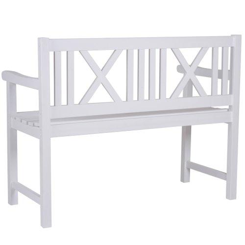 gartenbank im landhaus stil sitzbank aus holz in weiss. Black Bedroom Furniture Sets. Home Design Ideas