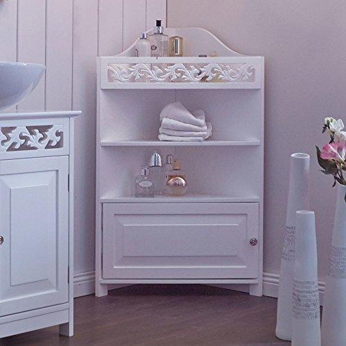 miavilla eckschrank romance badezimmer landhaus stil mdf wei 52 x 37 x 86 cm. Black Bedroom Furniture Sets. Home Design Ideas