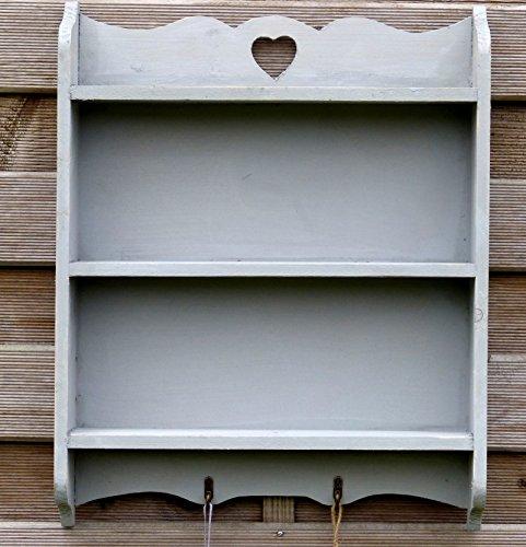 wandregal regal aus vollholz im landhaus stil mit 2 haken und 3 ablagen grau. Black Bedroom Furniture Sets. Home Design Ideas