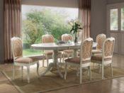 Landhaus Massiv Esstisch Bettina 150x90x75 Holz Weiß ausziehbar auf 185cm