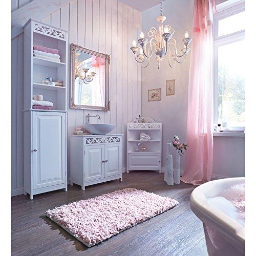 Miavilla eckschrank romance badezimmer landhaus stil mdf wei 52 x 37 x 86 cm - Eckschrank badezimmer ...