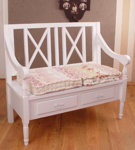 vintage nostalgie sitzbank im landhausstil weiss cottage. Black Bedroom Furniture Sets. Home Design Ideas