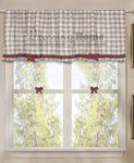 Vorhang Gardine Scheibengardine Bistrogardine Landhausstil - Kariert / Schleife - 160x60 - Karo Weiß / Taupe - 100% baumwolle