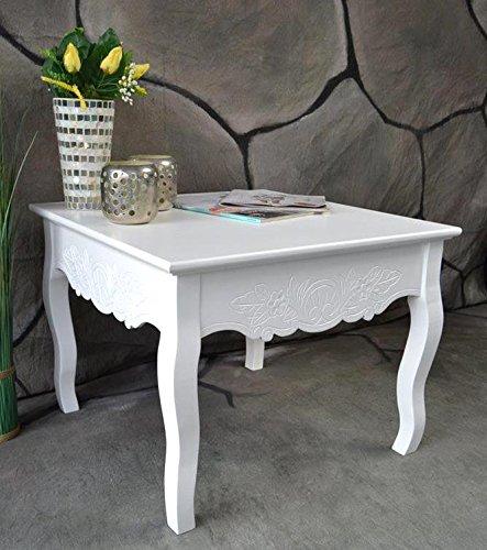 Couchtisch Beistelltisch Tisch Klein Antik Weiß Landhaus 60 X 60 Cm Sp51