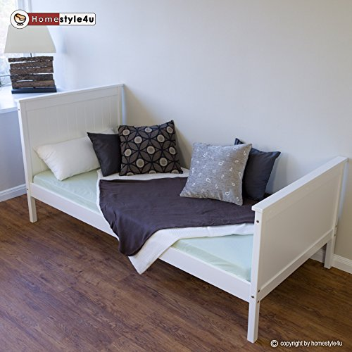 homestyle4u jugendbett einzelbett holzbett bettgestell 90x200 wei tagesbett bett kiefer. Black Bedroom Furniture Sets. Home Design Ideas